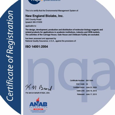 NEB Iso Certificate