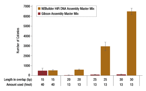 NEBuilder HiFi DNA Assembly vs. Gibson Assembly with low input